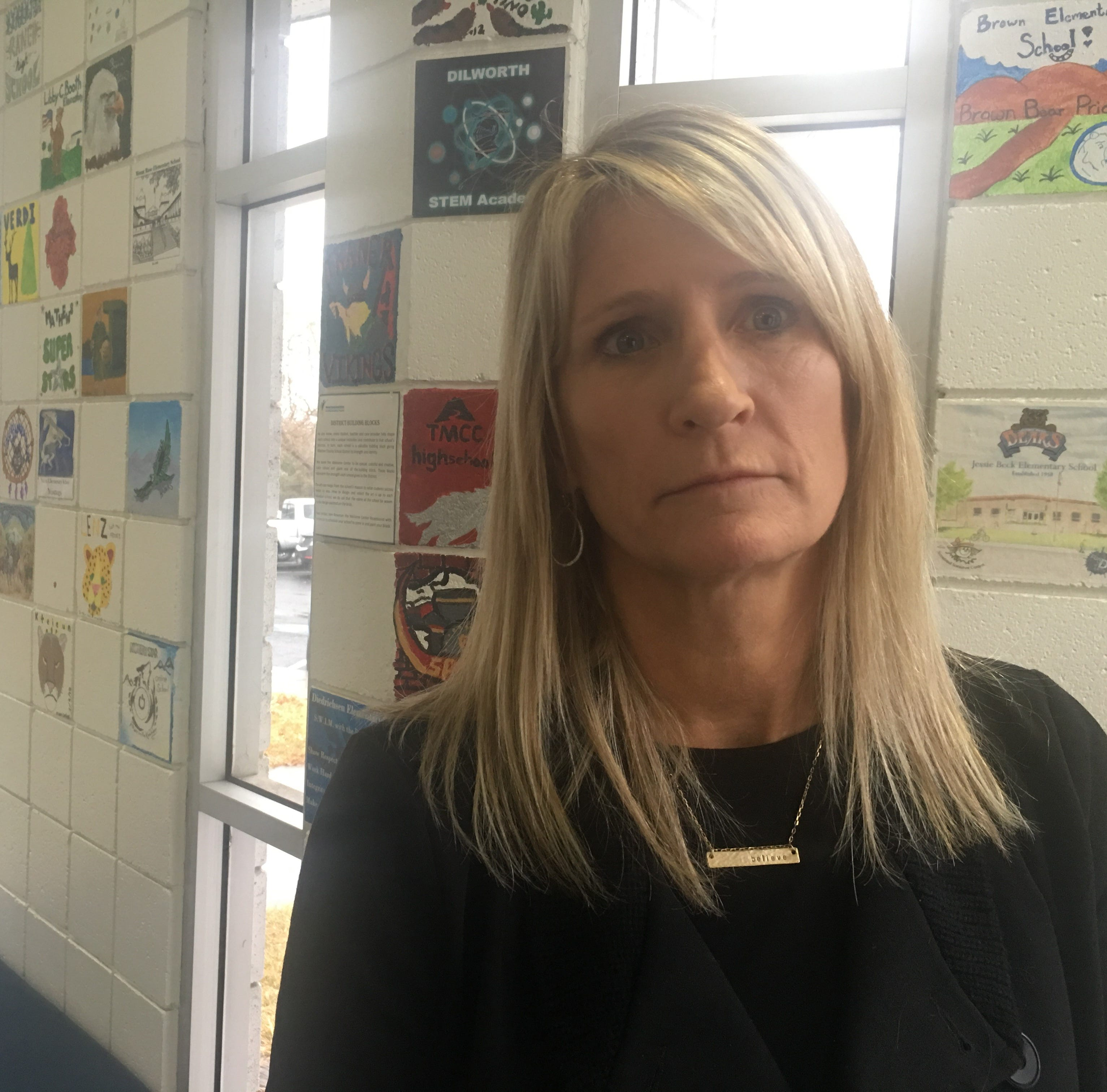 Trina Olsen, a Washoe County School District administrator, was fired and then rehired. She spoke at the school board meeting on Jan. 15, 2019.