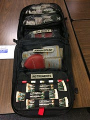 """One of 25 mass casualty critical intervention packs purchased by Wayne County Emergency Management Agency contains three pull-out """"Go Bags"""" and other supplies."""