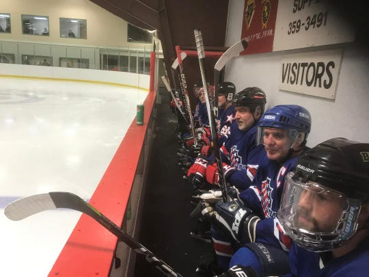 The Rochester Americans, no, not those Amerks, watch the action at the 5th Annual Phil Edwards Memorial Adult Hockey Tournament in Tupper Lake.