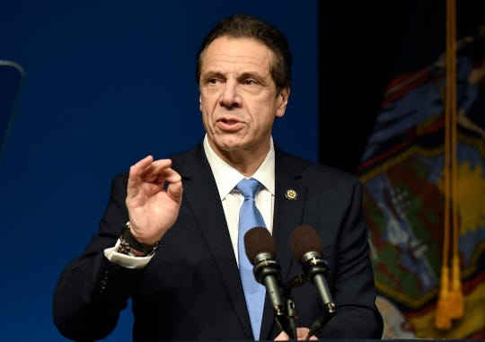 New York Gov. Andrew Cuomo delivers his State of the State address and executive budget proposal at the Hart Theatre on Tuesday, Jan. 15, 2019, in Albany, N.Y.