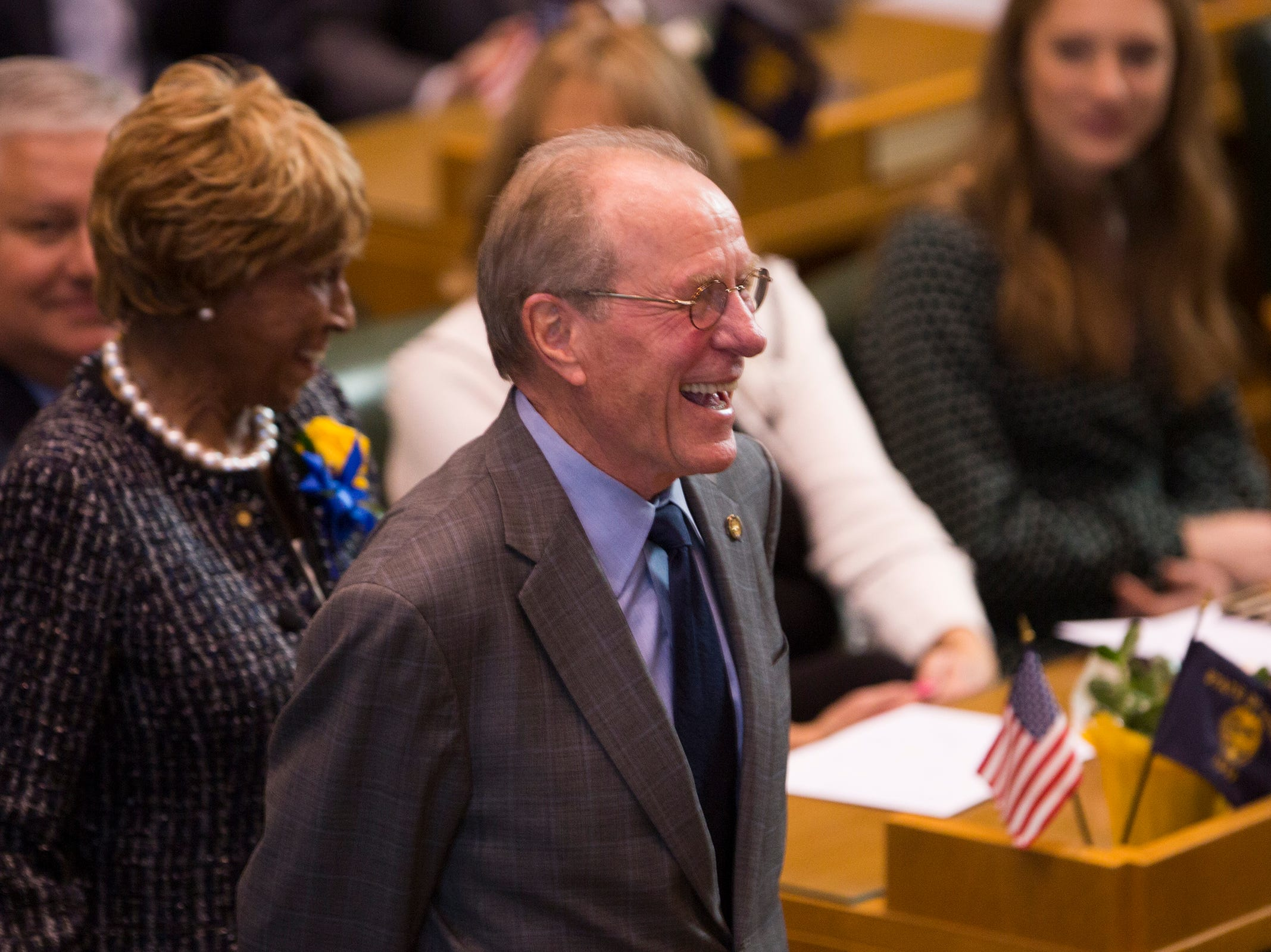 Former Governor Ted Kulongoski is introduced before Kate Brown addresses the state legislature at her inauguration at the Oregon State Capitol on Jan. 14, 2019.