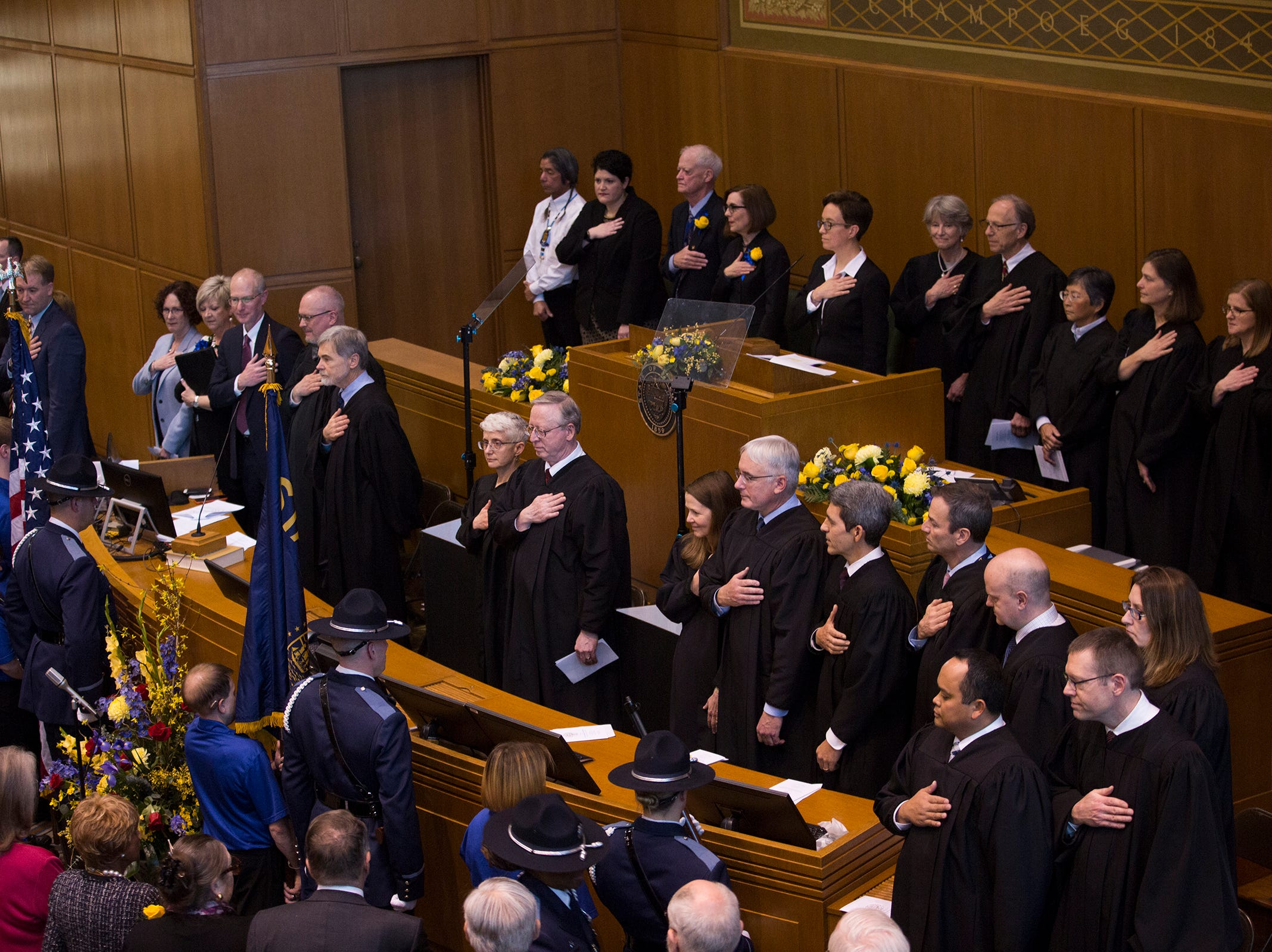 Oregon Supreme Court and Oregon Court of Appeals at Governor Kate Brown's inaugural address at the Oregon State Capitol on Jan. 14, 2019.
