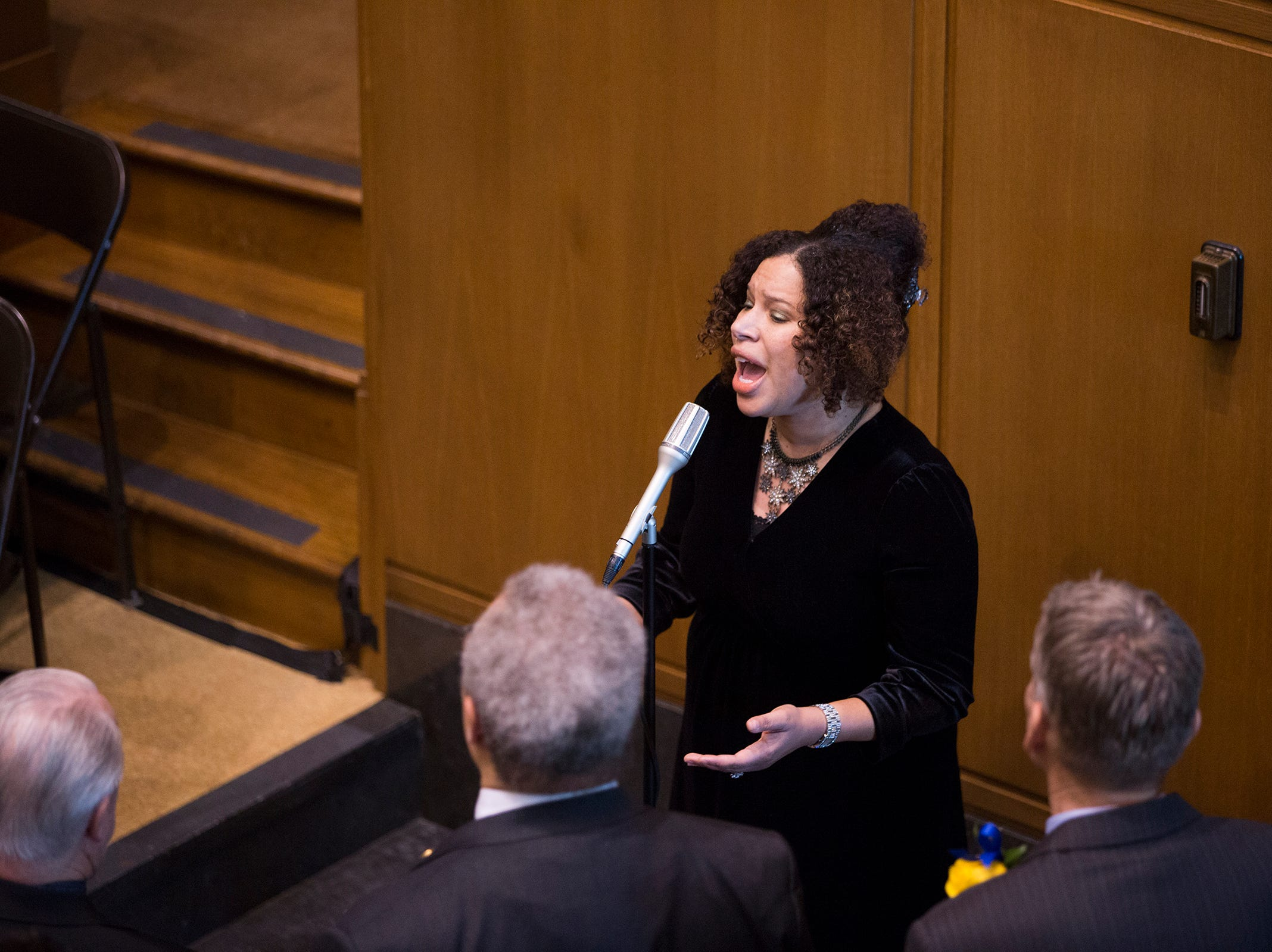 Leah Harrison of The Brown Sisters sings Lift Every Voice and Sing before Governor Kate Brown addresses the state legislature at her inauguration at the Oregon State Capitol on Jan. 14, 2019.
