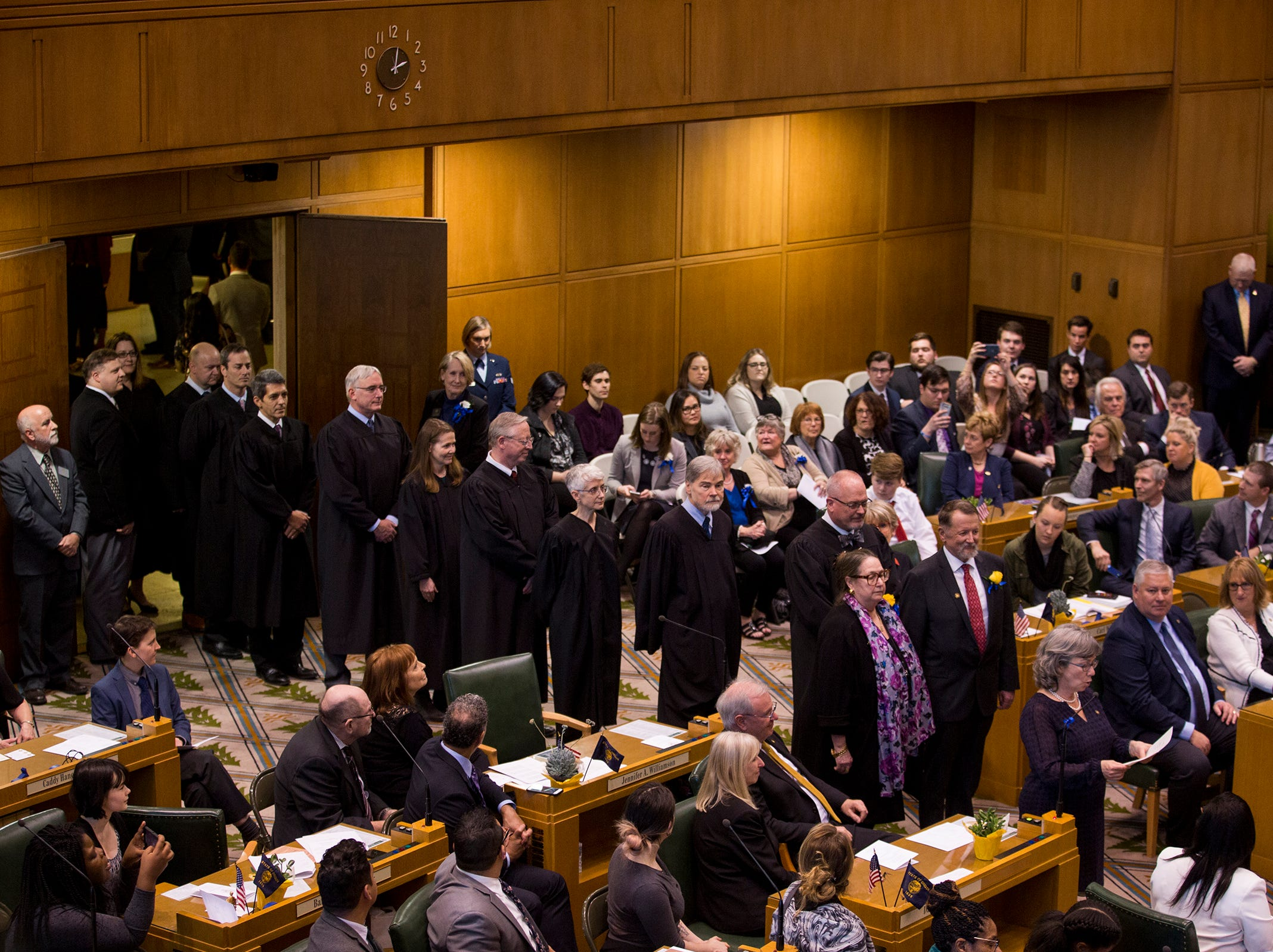 Oregon judges are escorted into Governor Kate Brown's inaugural address at the Oregon State Capitol on Jan. 14, 2019.