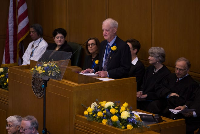 Senate President Peter Courtney, D-Salem, addresses the state legislature at Governor Kate Brown's inauguration at the Oregon State Capitol on Jan. 14, 2019.