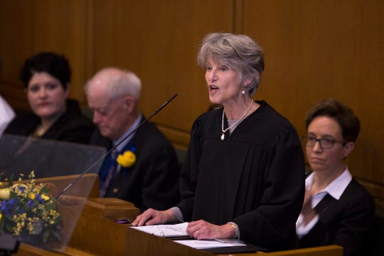 Chief Justice Martha Lee Walters speaks at Governor Kate Brown's inauguration at the Oregon State Capitol on Jan. 14, 2019.
