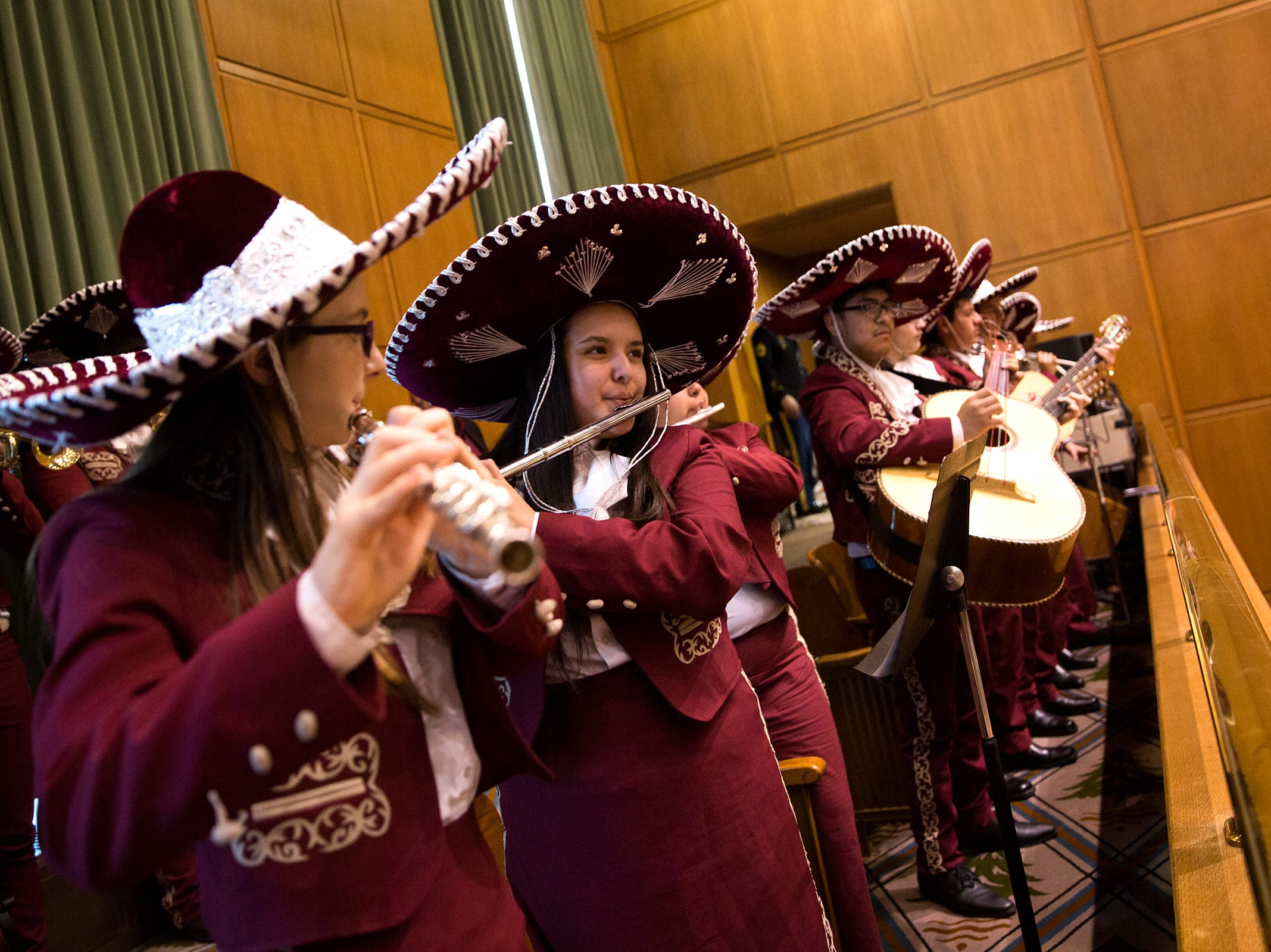 Woodburn High School Mariachi students perform following Governor Kate Brown's inaugural address at the Oregon State Capitol on Jan. 14, 2019.