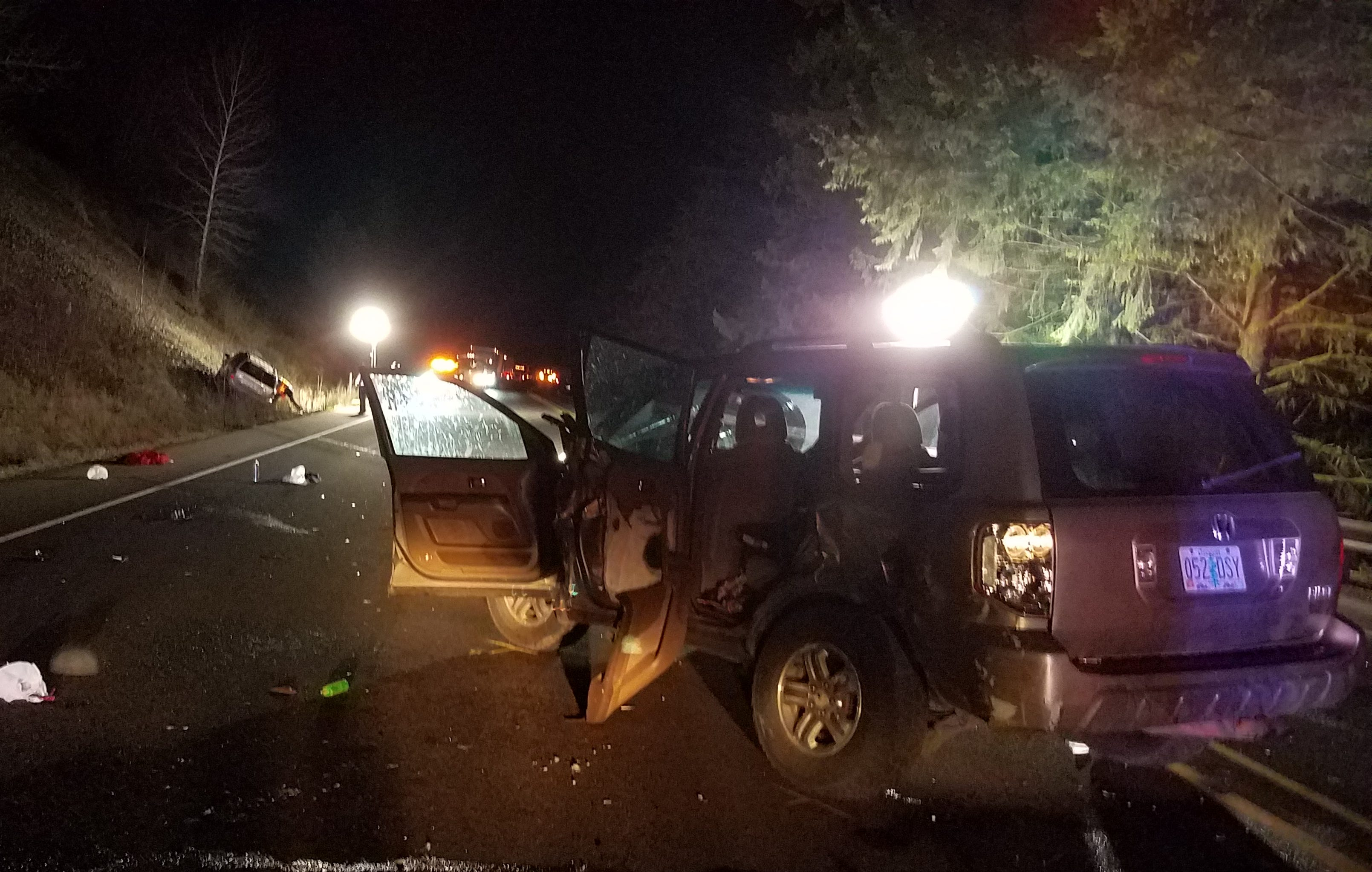 A child was taken to a hospital after a crash on Highway 22 Monday evening.