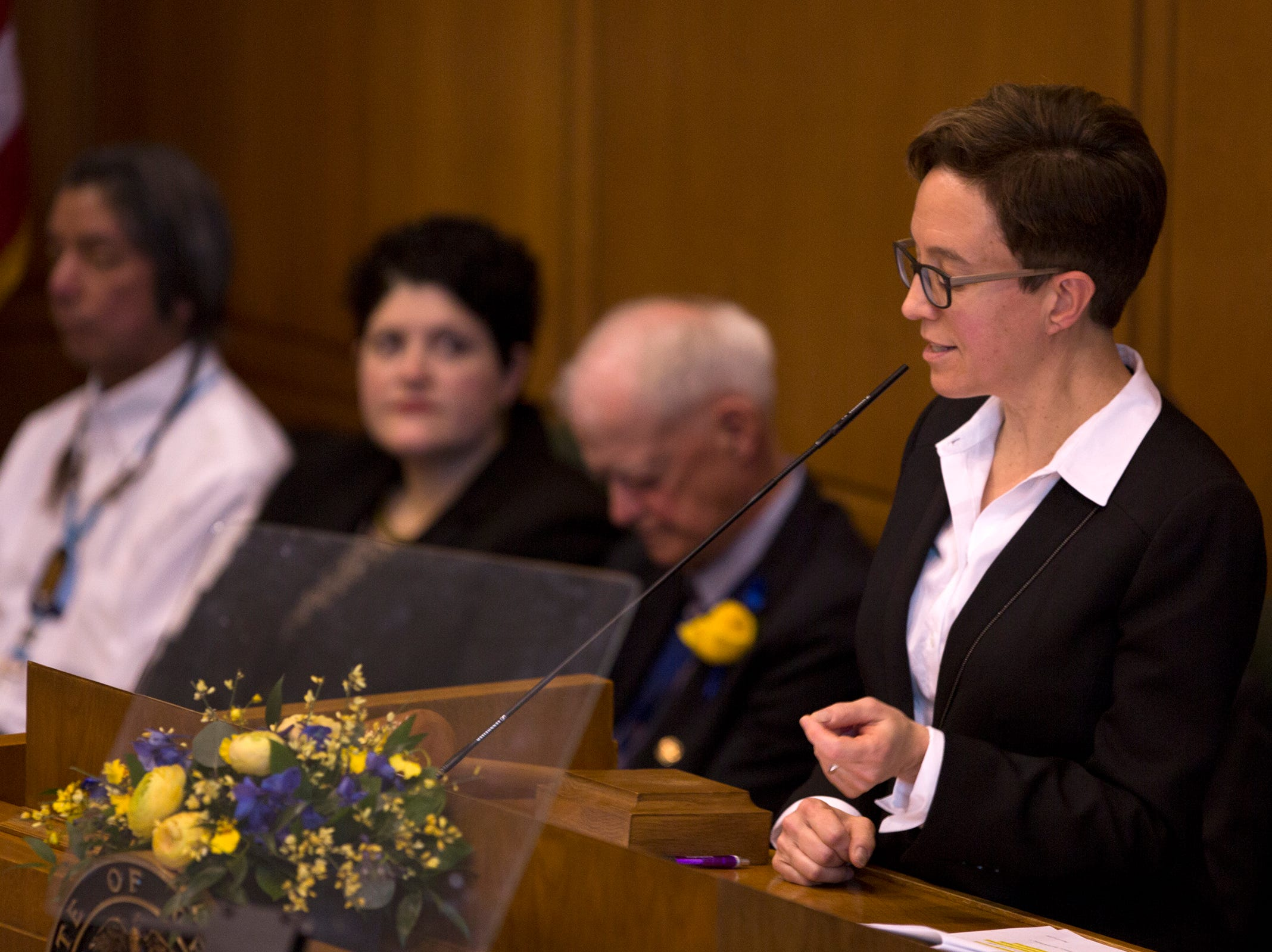 Speaker of the House, Tina Kotek, speaks before Governor Kate Brown addresses the state legislature at her inauguration at the Oregon State Capitol on Jan. 14, 2019.