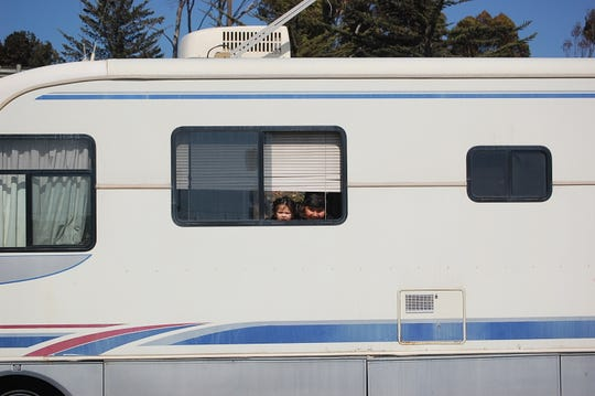 A family living out of an RV on Griffin Street in Salinas.
