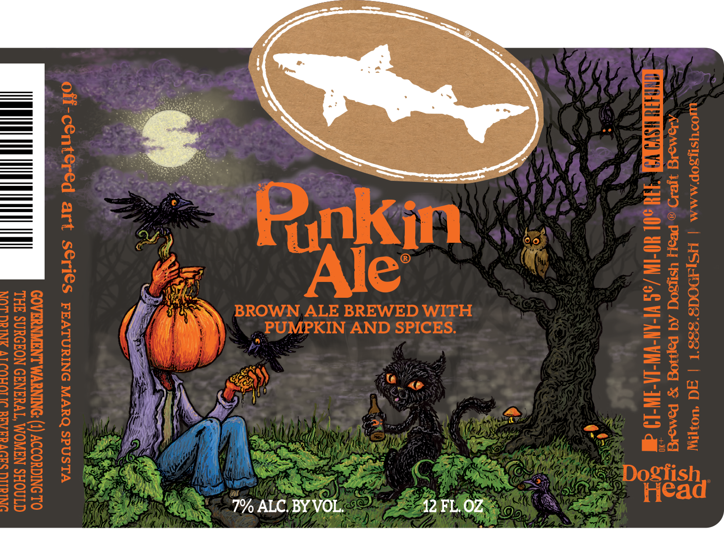 Dogfish Head's Punkin Ale label for 2018.