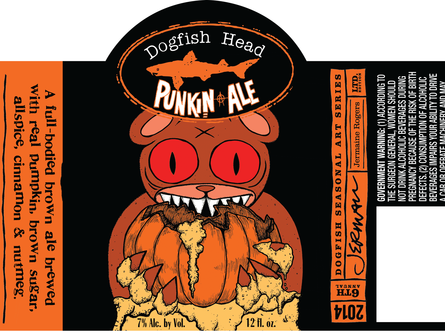 Dogfish Head's Punkin Ale label for 2014.