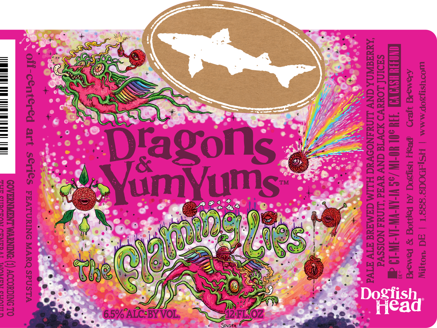Dogfish Head's Dragons & YumYums label by Marq Spusta. A new label will be featured in 2019.