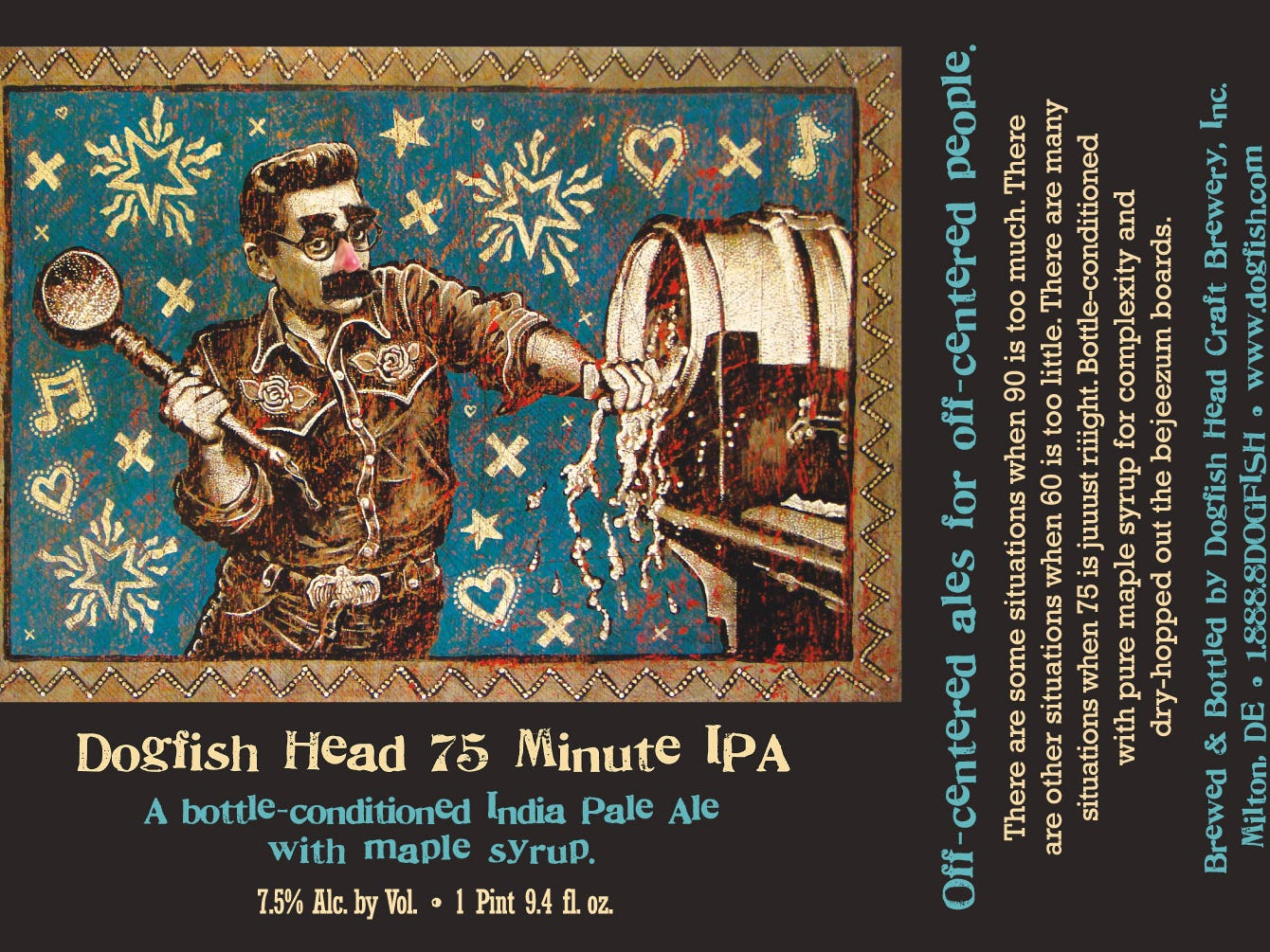 Dogfish Head's 75 Minute IPA label is 2017.