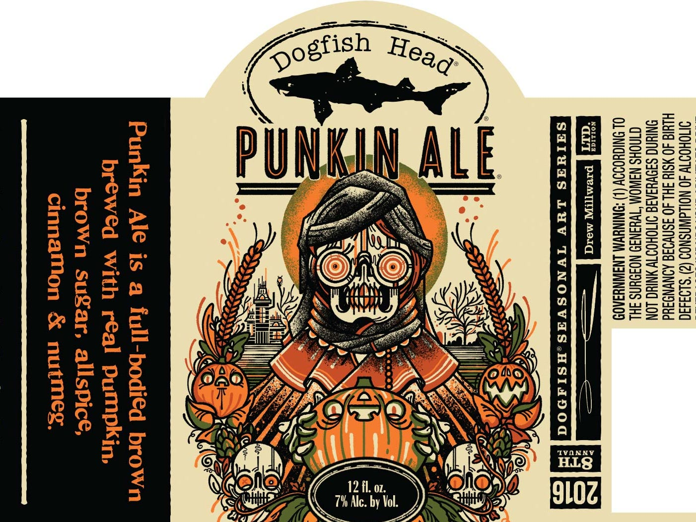 Dogfish Head's Punkin Ale label for 2016.
