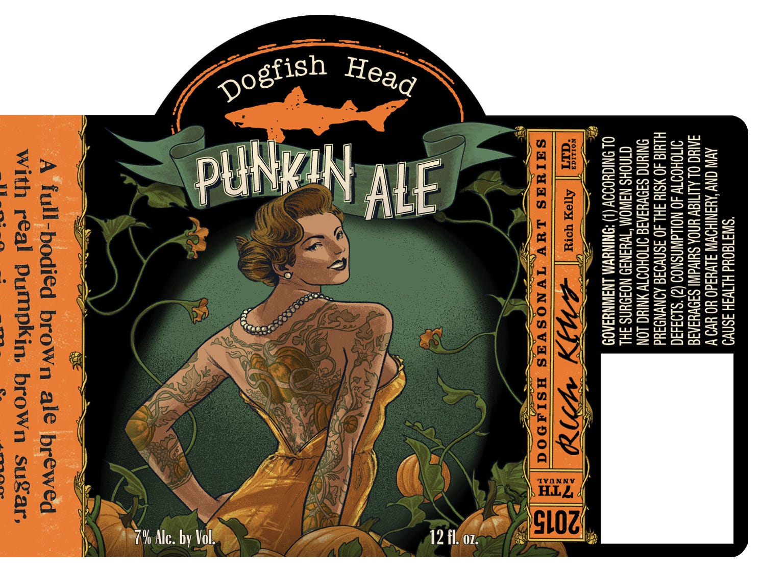 Dogfish Head's Punkin Ale label for 2015.