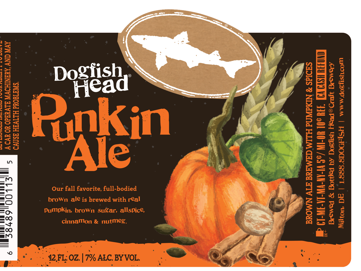 Dogfish Head's Punkin Ale label for 2017.