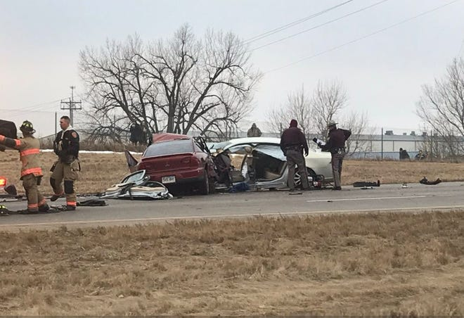 Two vehicles collided on Interstate 229 on Tuesday afternoon just south of Benson Road.