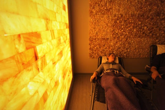 Trisha Smay lies back during a salt therapy session.