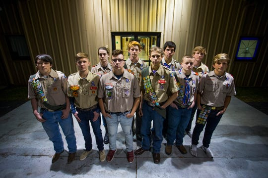 Ten members of Boy Scouts Troop 201 (from left): Cameron Lamborn, Trey Lewis, Garrett Coggin, Levi Fry, Quinten Milligan, Tyler Strothkamp, Nikolas Monteiro, Jack Ford, Mason DeMoss and Joseph Van Hoesen reached the rank of Eagle Scout, the highest attainable in the Boy Scouts, in 2018.