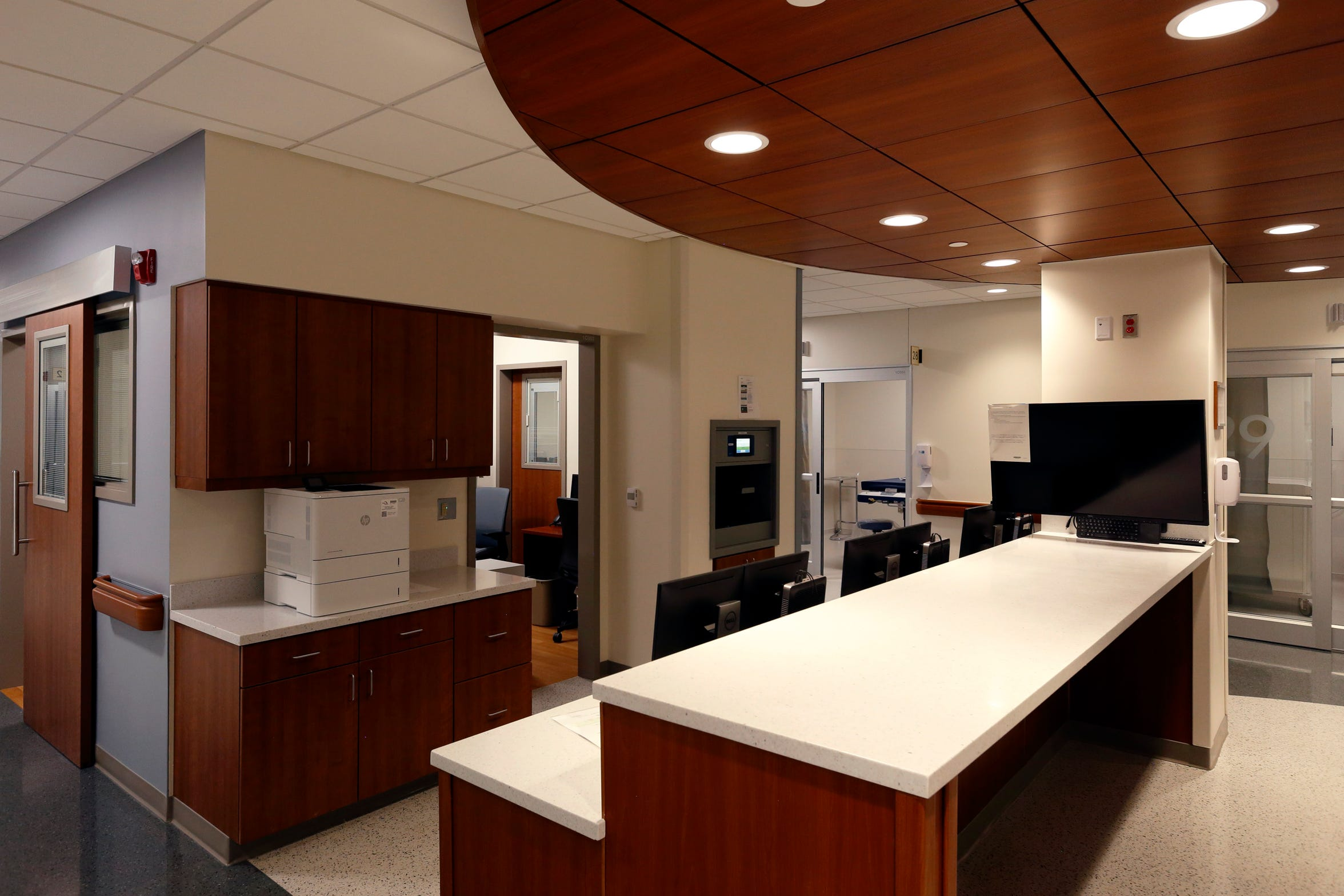 Nurses' station at Augusta Health's new Emergency Department in Fishersville, Virginia.