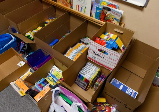 Staff started sorting donations Tuesday, Jan. 15, after a fire damaged four classrooms Sunday at Pleasantview Elementary School in Sauk Rapids.