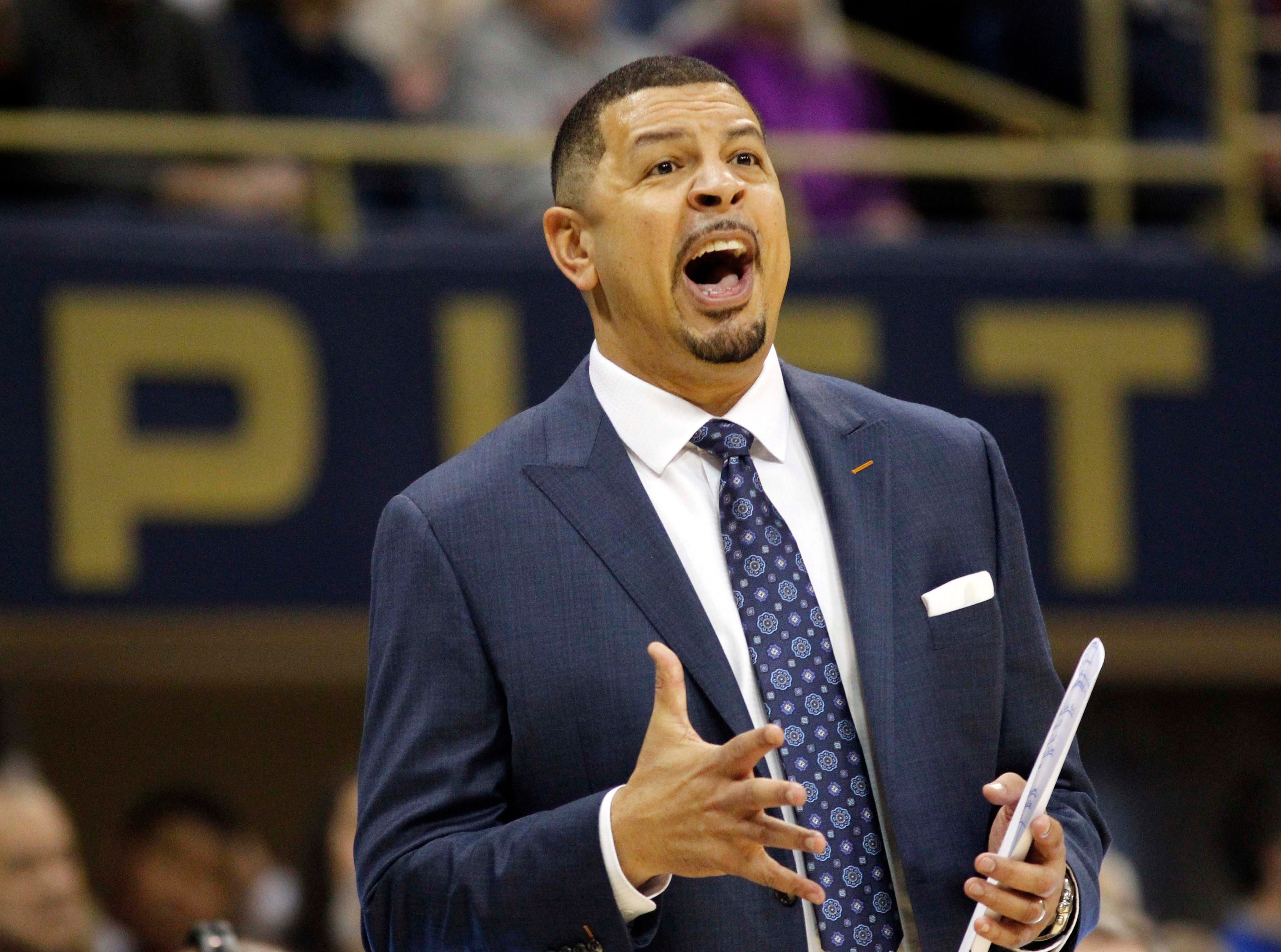 Jan 14, 2019; Pittsburgh, PA, USA; Pittsburgh Panthers head coach Jeff Capel  reacts on the sidelines against the Florida State Seminoles during the first half at the Petersen Events Center. Mandatory Credit: Charles LeClaire-USA TODAY Sports