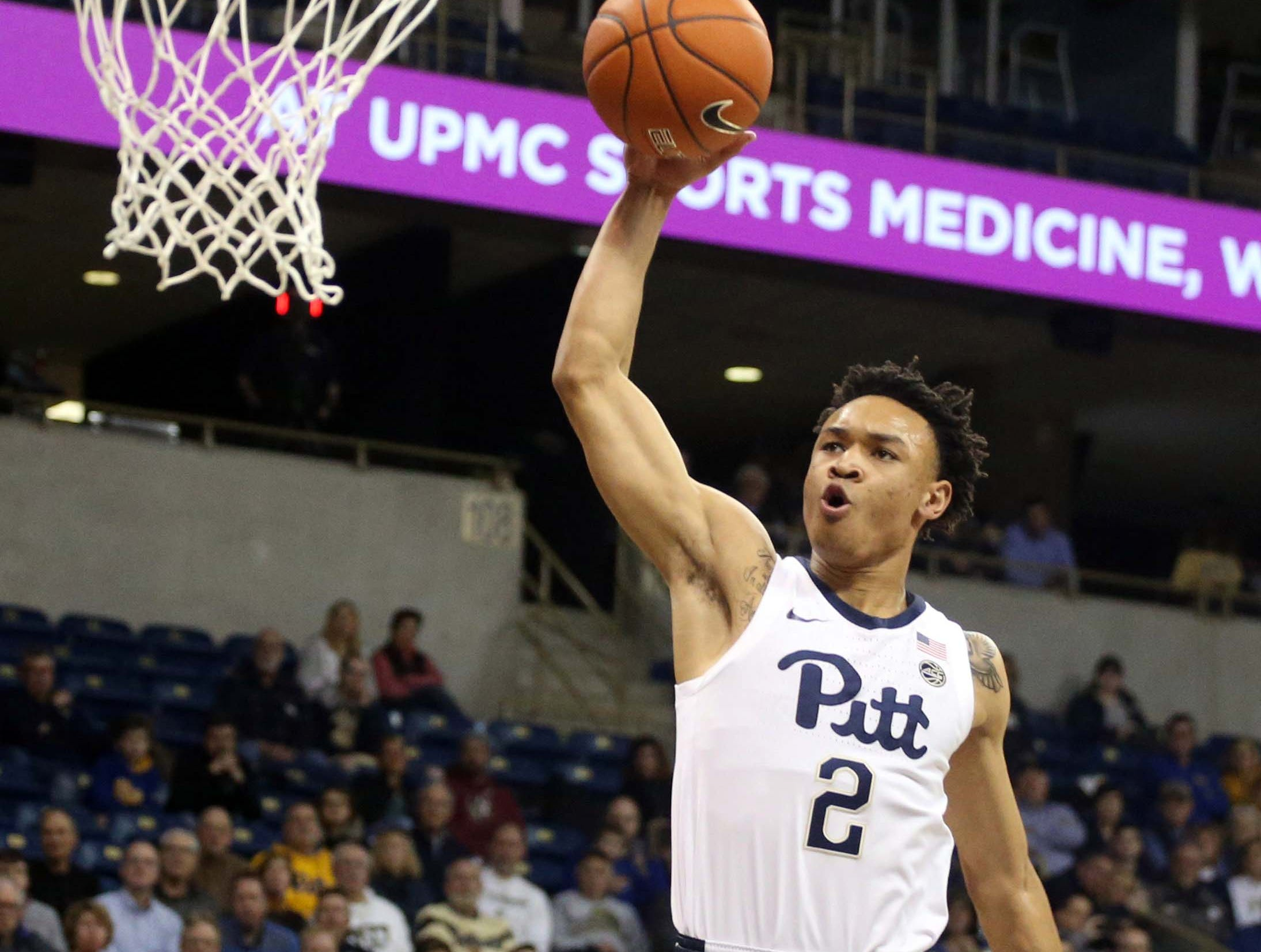 Jan 14, 2019; Pittsburgh, PA, USA; Pittsburgh Panthers guard Trey McGowens (2) attempts a dunk against the Florida State Seminoles during the first half at the Petersen Events Center. Mandatory Credit: Charles LeClaire-USA TODAY Sports