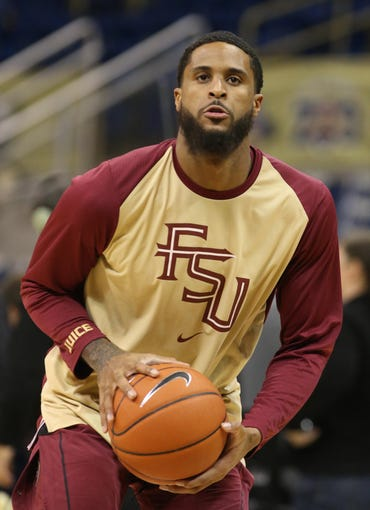 Jan 14, 2019; Pittsburgh, PA, USA;  Florida State Seminoles forward Phil Cofer (0) shoots on the court before playing the Pittsburgh Panthers at the Petersen Events Center. Mandatory Credit: Charles LeClaire-USA TODAY Sports