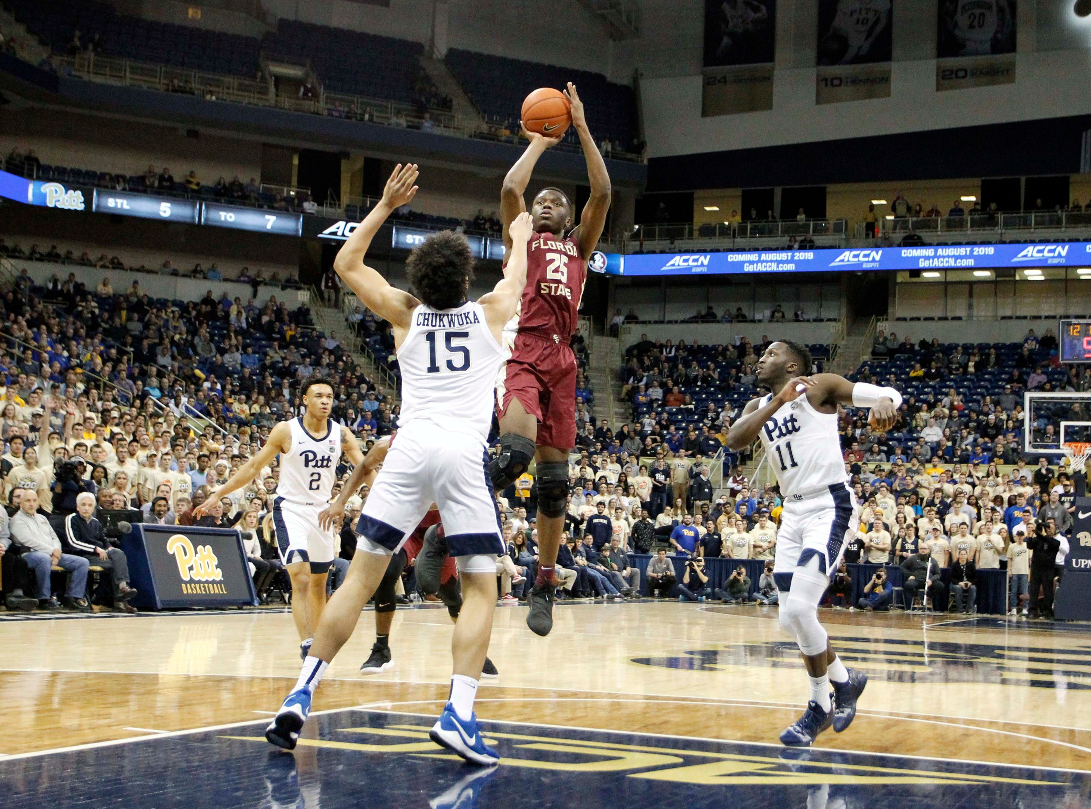Jan 14, 2019; Pittsburgh, PA, USA; Florida State Seminoles forward Mfiondu Kabengele (25) shoots against the Pittsburgh Panthers during the second half at the Petersen Events Center. Pittsburgh won 75-62. Mandatory Credit: Charles LeClaire-USA TODAY Sports