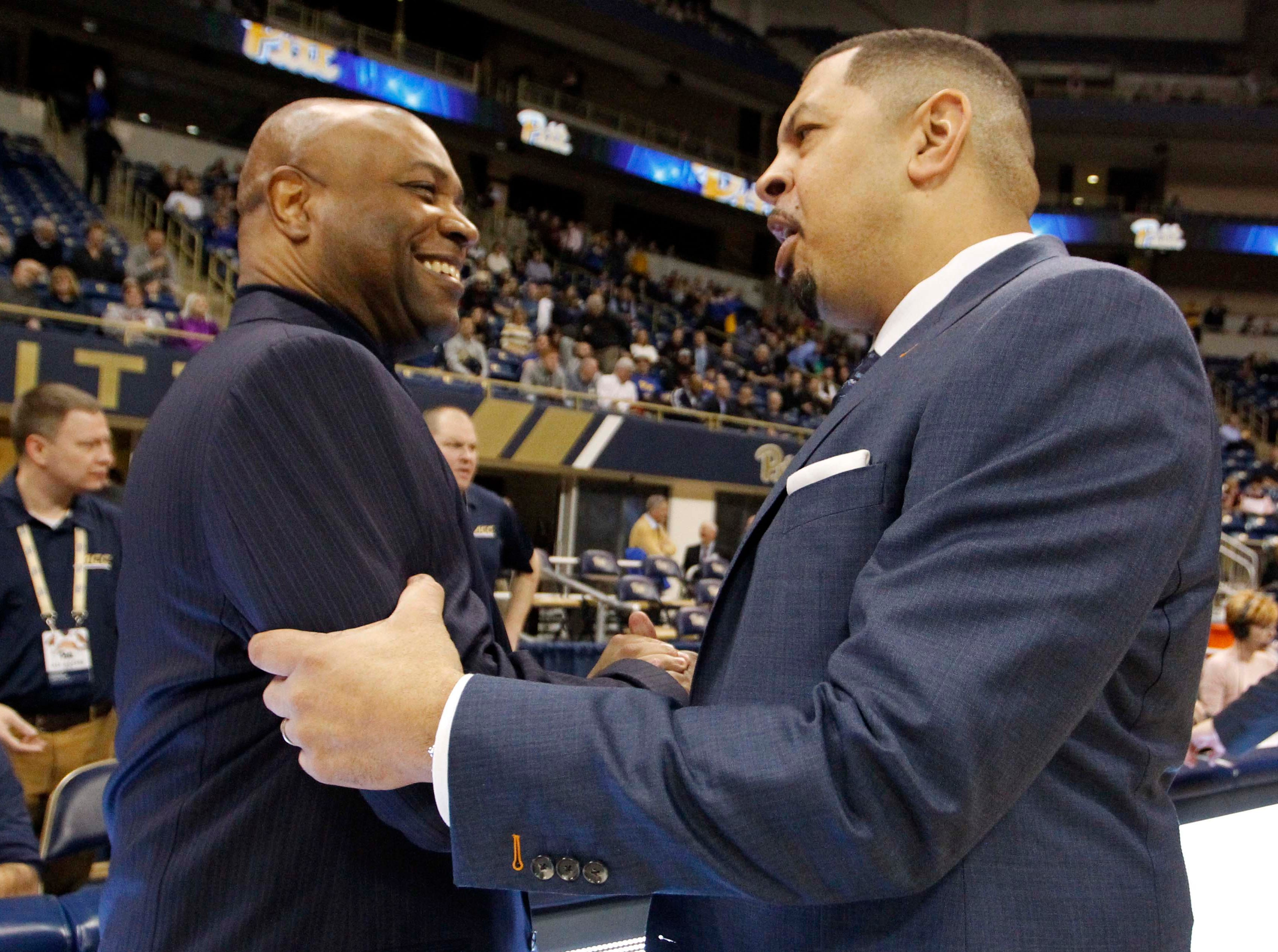 Jan 14, 2019; Pittsburgh, PA, USA; Florida State Seminoles head coach Leonard Hamilton (left) and Pittsburgh Panthers head coach Jeff Capel (right) shake hands before their teams play at the Petersen Events Center. Mandatory Credit: Charles LeClaire-USA TODAY Sports