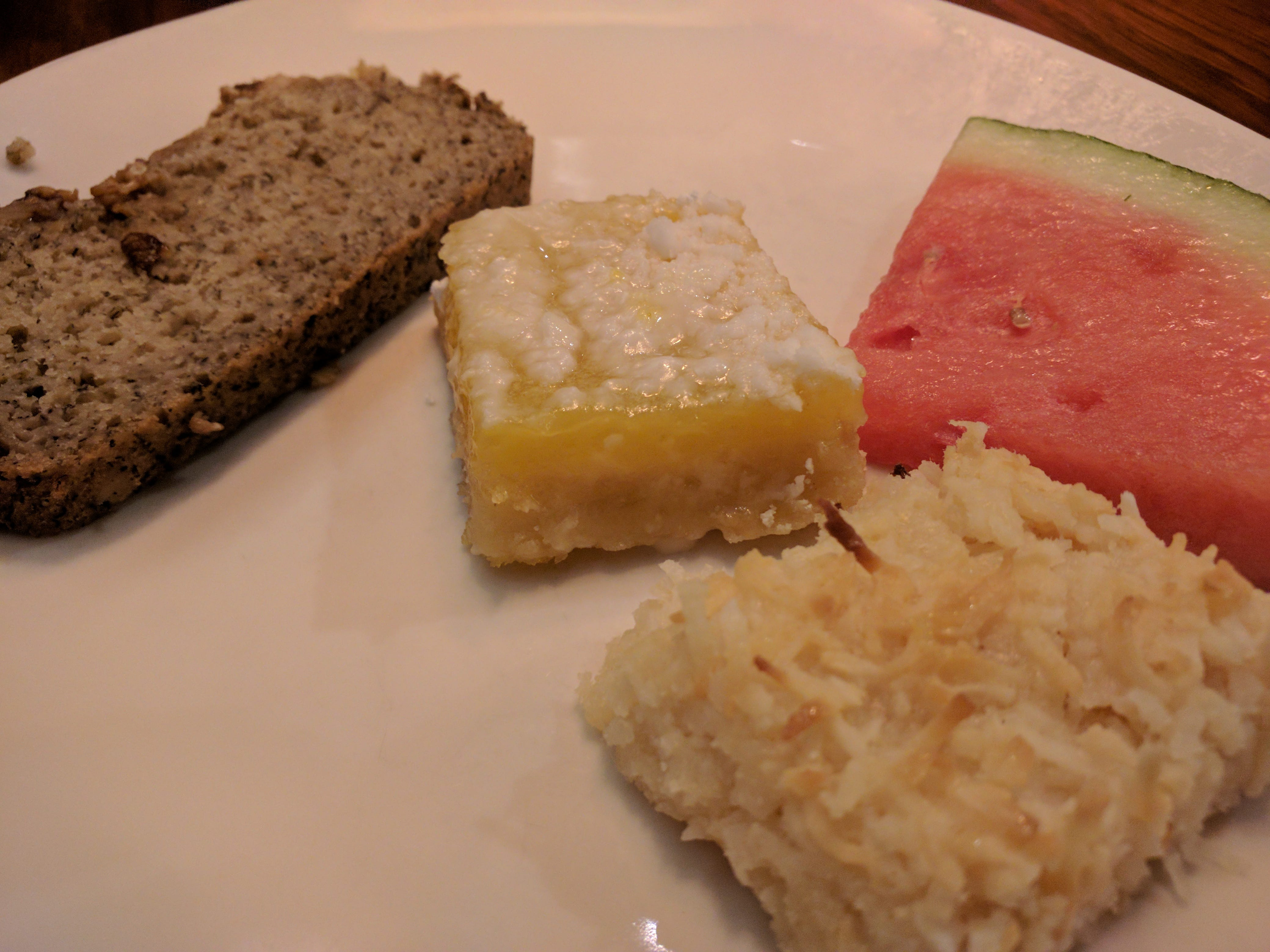 Bowls of fresh fruit and coconut bars, lemon squares and slices of banana bread were good on the dessert bar at the Green Marlin in Vero Beach.