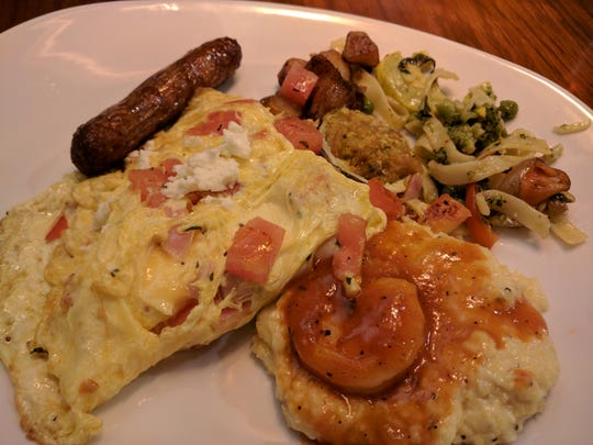 Green Marlin omelet is made to order and you can get shrimp and grits. Green Marlin is located on U.S. 1 in Vero Beach.