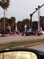 This photo submitted by Alaina LaQuesta shows a crash at Indian River and Royal Palm boulevards about 6 p.m. Monday, Jan. 14, 2019.