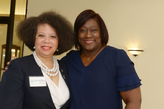 LegalShield's Rita Pinder, left, and Lesley George at the Council of Social Agencies of St. Lucie's annual luncheon and officer installation.