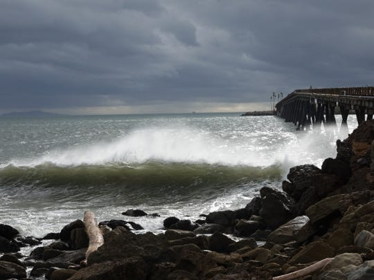 STAR FILE PHOTO Storm clouds over the ocean seen from Mussel Shoals in Ventura County.