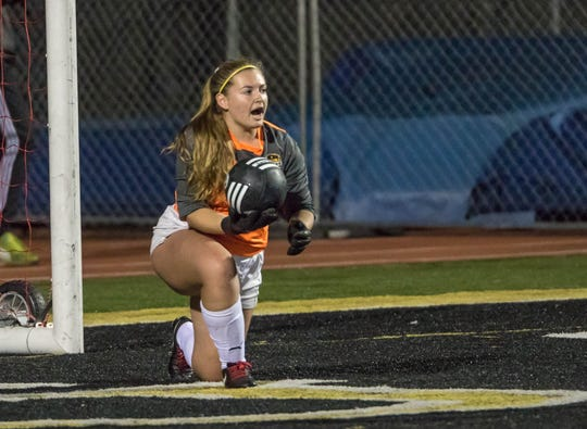 Goalkeeper Kambria Haughton, shown making a save in a 3-0 win over Camarillo on Dec. 7, returns in goal for Ventura High. The defending CIF-Southern California Division IV champion has conceded just eight goals in its first 17 matches.