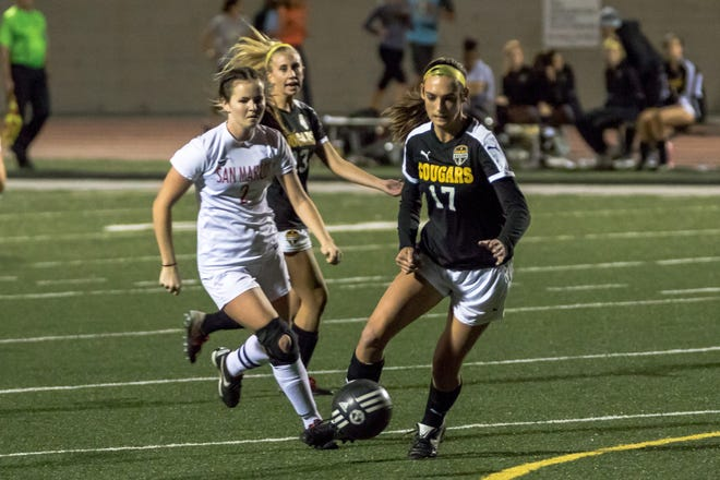 Striker Peyton Erickson (17) has 16 goals and 13 assists through the first 17 matches of her senior season for defending CIF-Southern California Division IV champion Ventura.