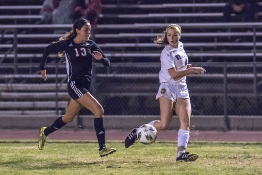 Senior attacker Cassidy Hubert, right, has 14 goals and 11 assists through 17 matches for Ventura High this season.