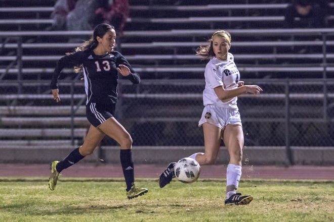 Ventura High senior Cassidy Hubert, right, is one of 21 local seniors who will represent Ventura County on Friday night in the second Ventura County vs. Los Angeles County Senior All-Star girls soccer game at Oaks Christian School.