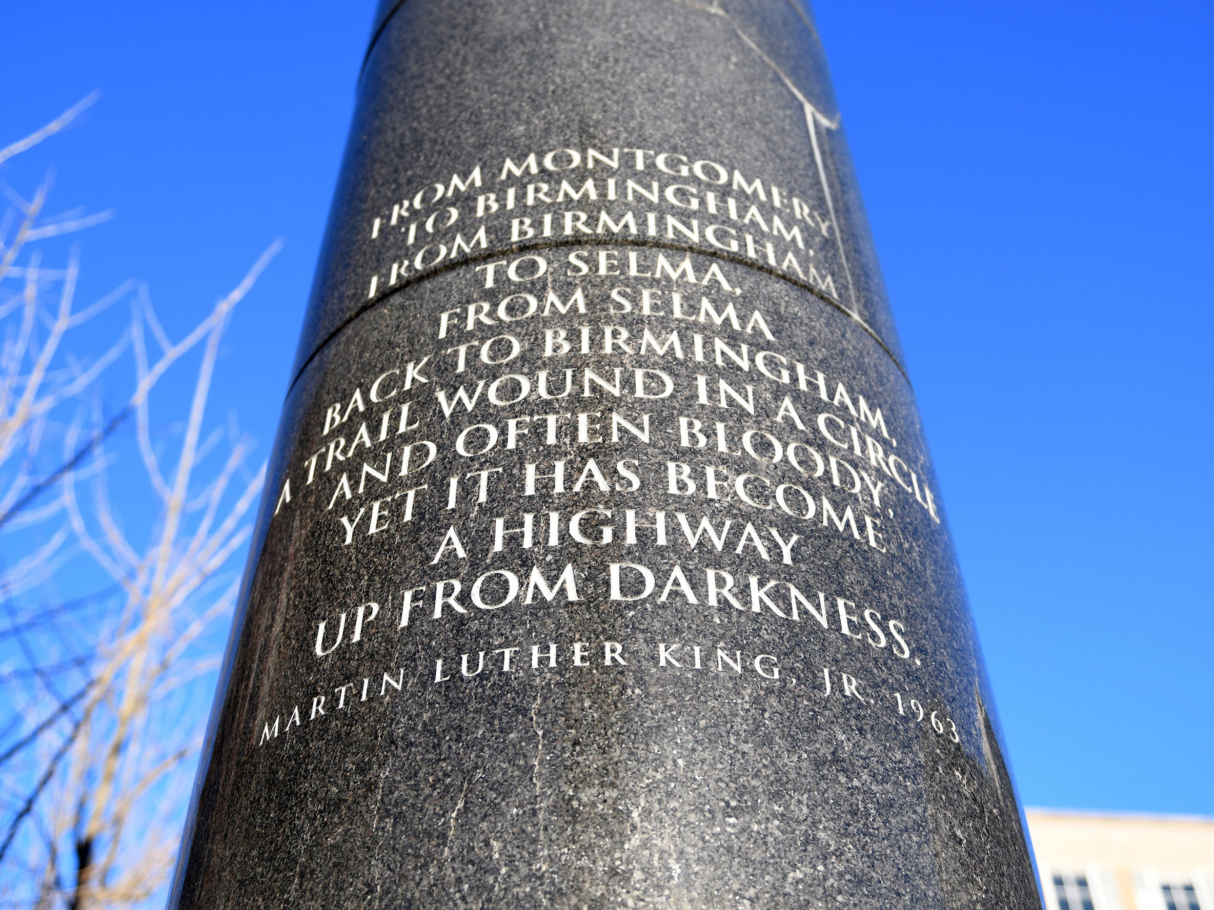 Atlantic City's Civil Rights Garden features 11 African granite columns engraved with quotes from distinguished civil rights leaders including Dr. Martin Luther King Jr.