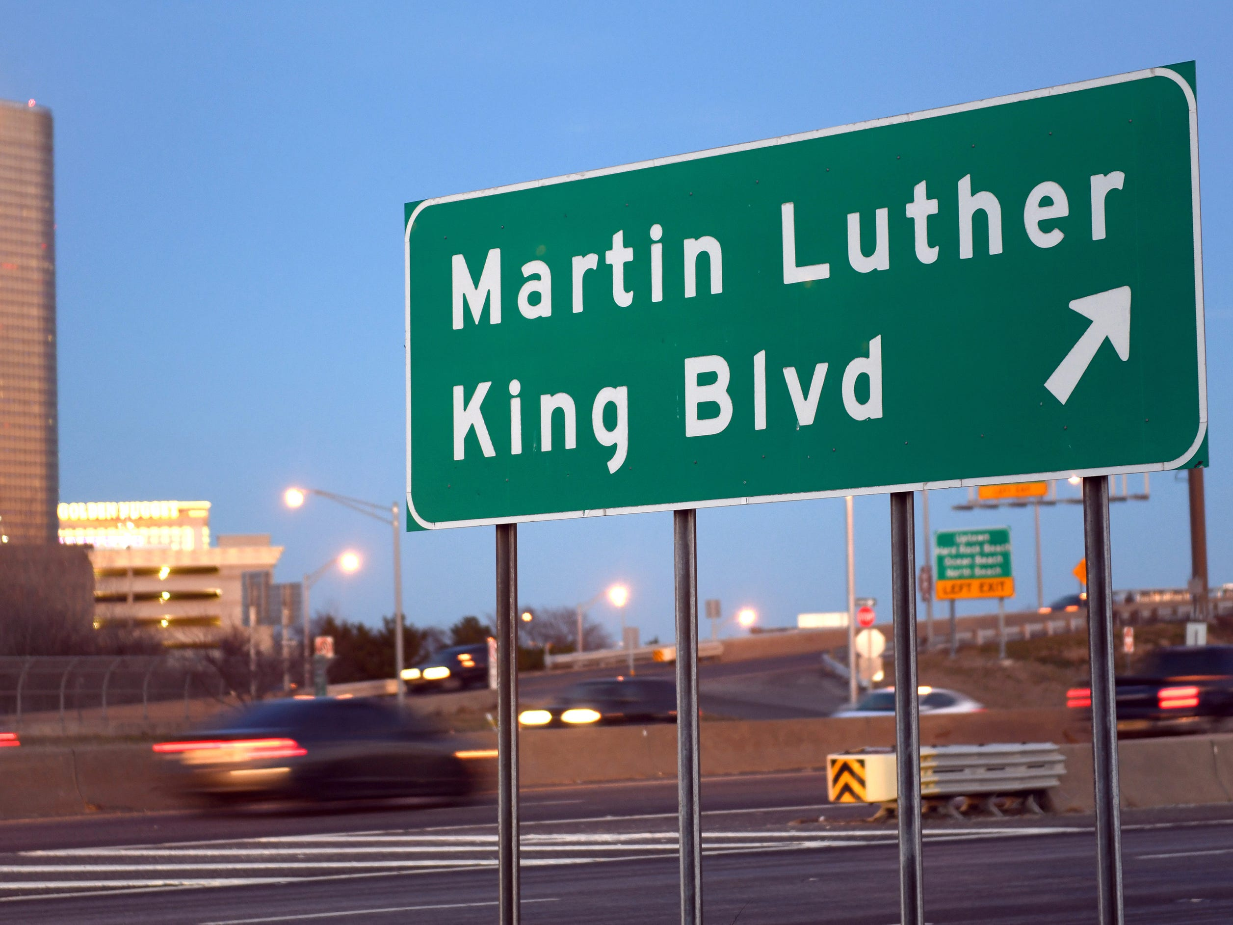 A Route 30 sign points drivers to Dr. Martin Luther King Jr. Boulevard in Atlantic City. The Borgata Hotel and Casino can be seen in the background on Friday, Jan. 11, 2019.