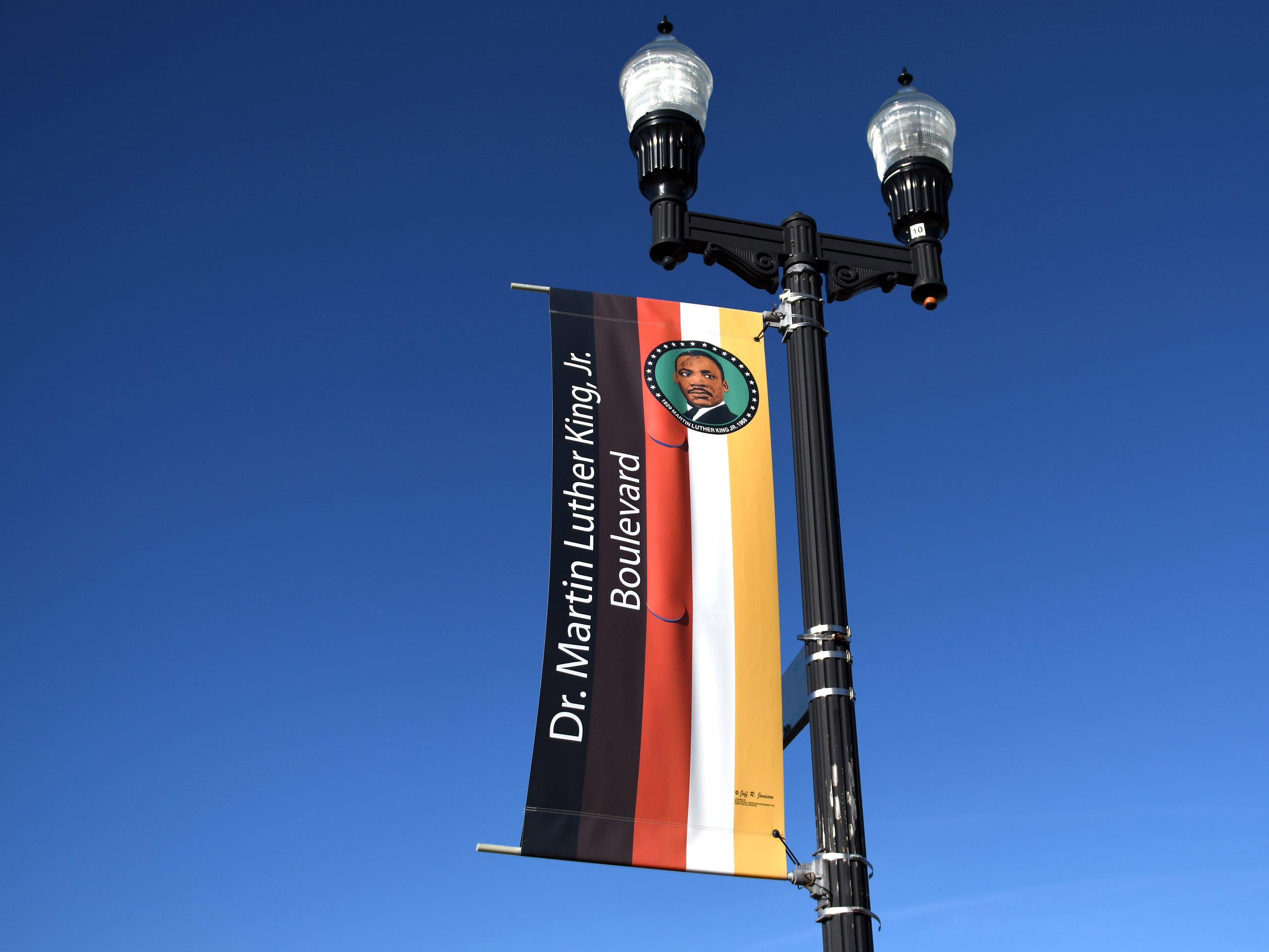 A Dr. Martin Luther King Jr. Boulevard street banner pictured here on Friday, Jan. 11, 2019.