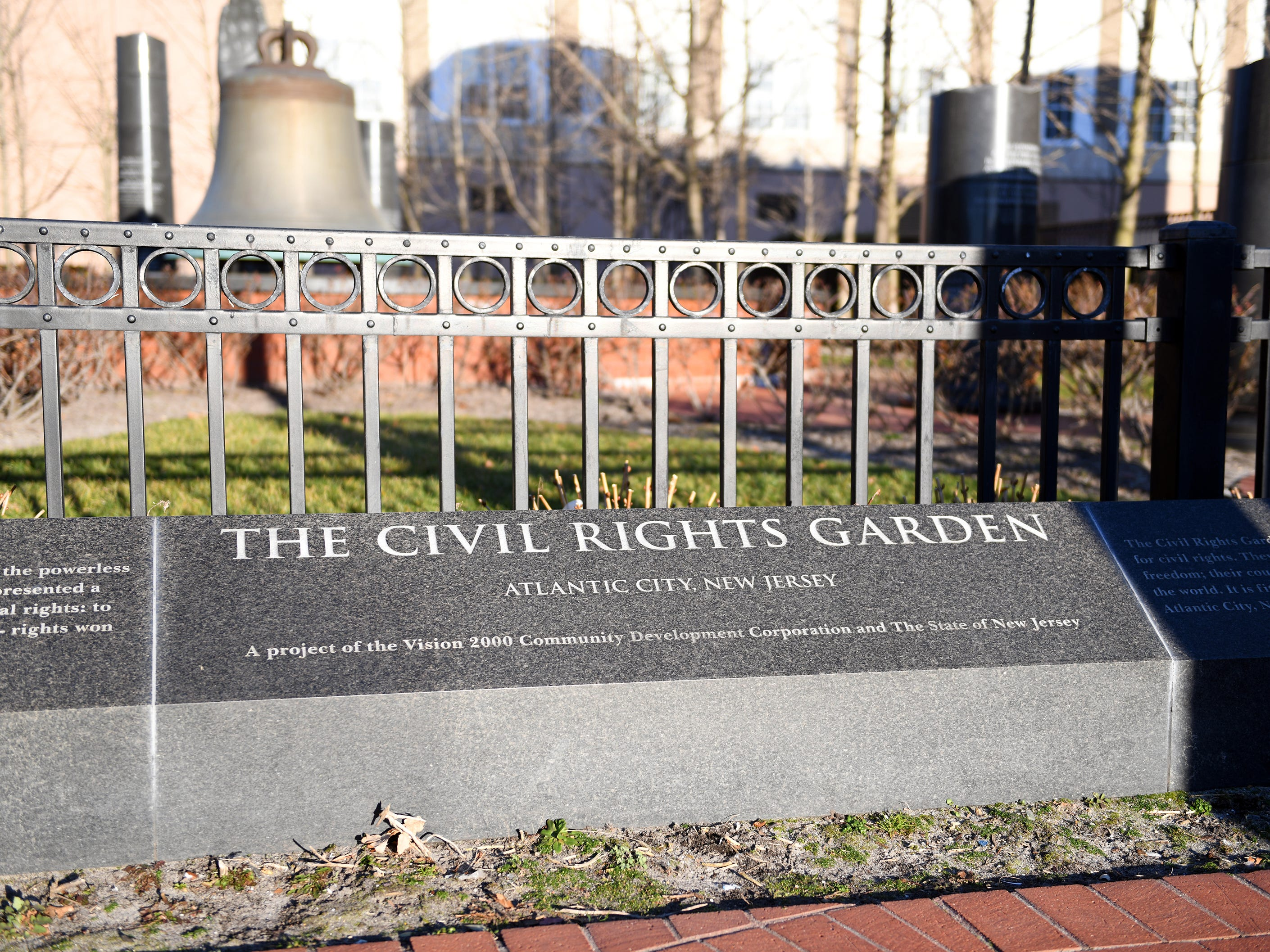 Atlantic City's Civil Rights Garden features 11 African granite columns engraved with quotes from distinguished civil rights leaders including Dr. Martin Luther King Jr. The entrance to the public sculpture garden is pictured here along Dr. Martin Luther King Jr. Boulevard on Friday, Jan. 11, 2019.