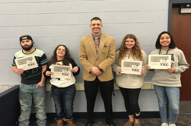 Cumberland County Technical Education Center announced the Students of the Month for December. They are. Principal Greg McGraw (center) is pictured with students (from left) Michael Petersen for academic, Isabel Vergara for STRIVE, Sydney Middleton for Golden Tiger and Evely Vaquero-Flores for Career Technical Education.
