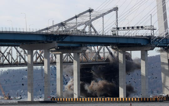 The Tappan Zee Bridge comes down with an implosion Jan. 15, 2019.