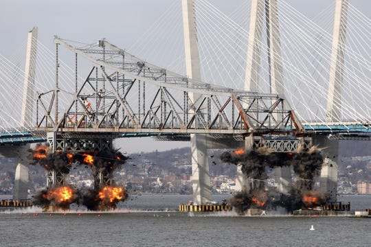 The eastern portion of the Tappan Zee Bridge is imploded with explosive devices Jan. 15, 2019 as seen from Tarrytown.