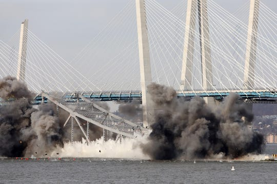 Explosives bring down the eastern portion of the Tappan Zee Bridge Jan. 15, 2019 as seen from Tarrytown.