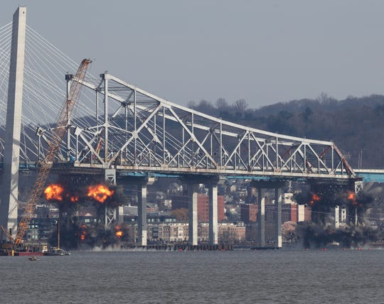 Demolition of the eastern structure of the Tappan Zee Bridge is taken down with controlled explosives on Tuesday, January 15, 2019.