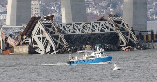 Explosives brought down the eastern portion of the Tappan Zee Bridge Jan. 15, 2019 as seen from Tarrytown.